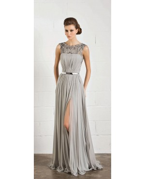 2014 grey beaded chiffon long prom dress with slit skirt
