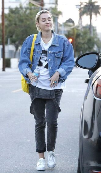 top jacket overalls sneakers miley cyrus