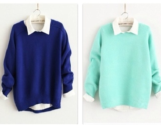 blue sweater sweater blue tumblr fashion oversized sweater baggy sweaters sea blue teal navy collared