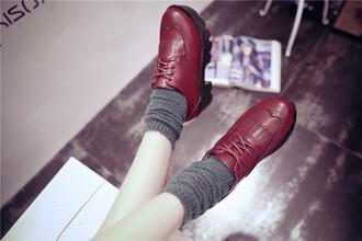 shoes oxfords boyish unisex burgundy