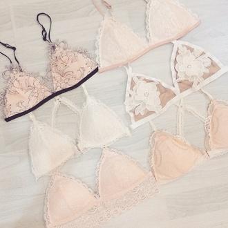 underwear bralette lace bralette ootd fashion lace bra bra style top crop tops mesh bra white bralette pastel bralette lingerie sexy lingerie pastel pink lace lingerie