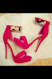 shoes,pink high heels,black,summer outfits,pink,heels,gold,pink sandals,red sandals,high,high heels,gold chain,sandals,heels color pumps wedges sexy,red,shoeaholic,pink heels,colorful,style,fashion,trendy,red high heels,redheels,red gold,pink shoes,cute high heels