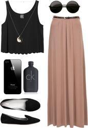 shoes,long skirt,lennon shades,yin yang,chain,black,loafers,calvin klein,skirt