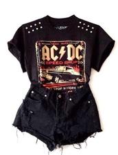 t-shirt,top,acdc,ac dc,music,rock,hard rock,black,studs,studded,ac/dc,black shorts,shorts