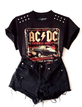 t-shirt top acdc music rock hard rock black studs studded ac/dc black shorts shorts