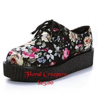 shoes cute creepers floral jfashion platform shoes platform sneakers