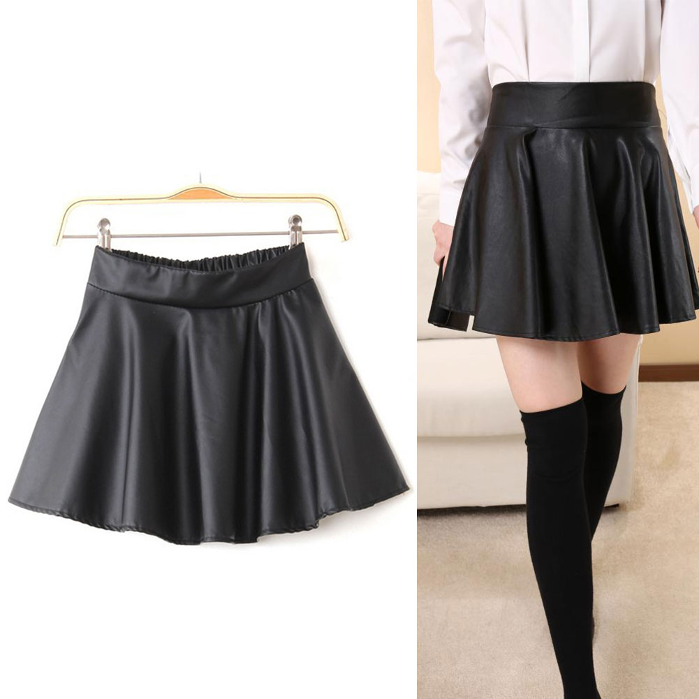bb6d22b15896 Sexy Fashion Womens Black Red Faux Leather Mini Skirt High Waist Pleated  Skater