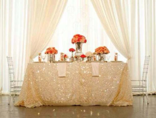 home accessory tablecloth home decor sequins champagne wedding scarf