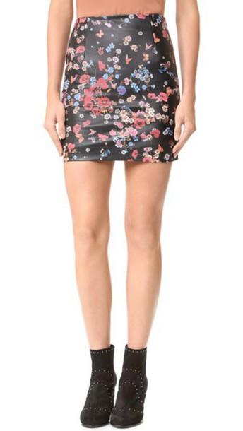 a709372f0a0 The Kooples Flower Print Leather Miniskirt - Black - Wheretoget