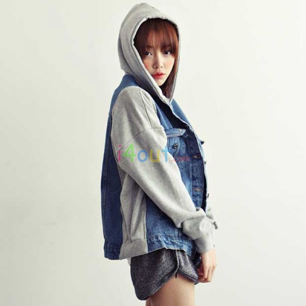 Women Denim Hooded Combined Vintage Baseball Jacket Coat Veste Hoodie Uniform | eBay