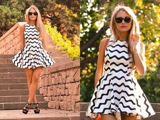 dress black white zig zag pattern black and white monochrome skater dress