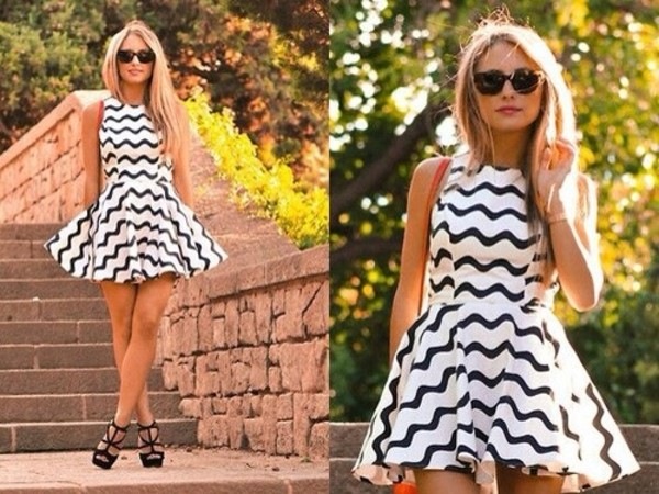 dress black white zig zag pattern pattern black and white monochrome skater dress