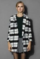 chicwish,wool blend coat,tartan coat