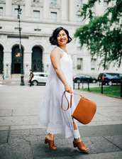 mimi & chichi blog,blogger,dress,bag,jewels,mules,shoulder bag,maxi dress,white dress,summer outfits,shoes,white long dress,brown bag,brown mules