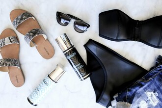 fashionably lo blogger swimwear sunglasses black bikini bikini sandals denim shorts summer outfits spring break shoes