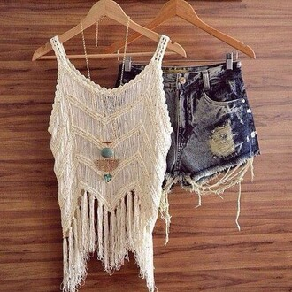 top cropped crop tops white tassle beach style fashion crochet crop top crochet