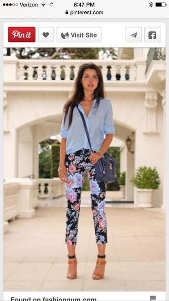 jeans floral print pants