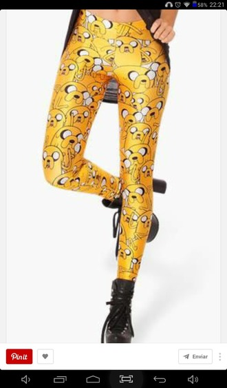 leggings legings jake the dog legings adventure time yellow leggings