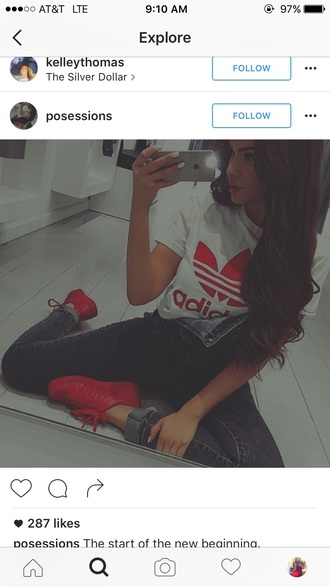 t-shirt red shoes overalls adidas nike adidas originals adidas superstars nike shoes nike running shoes denim overalls light blue overalls