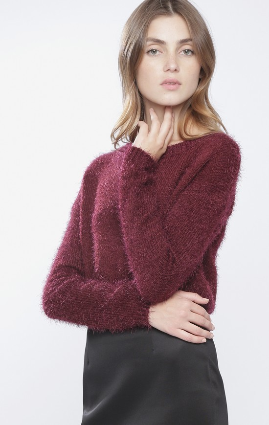Burgundy fuzzy crop sweater