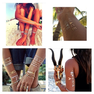 jewels tattoo silver bracelets silver golden golden jewels new fashion fabulous