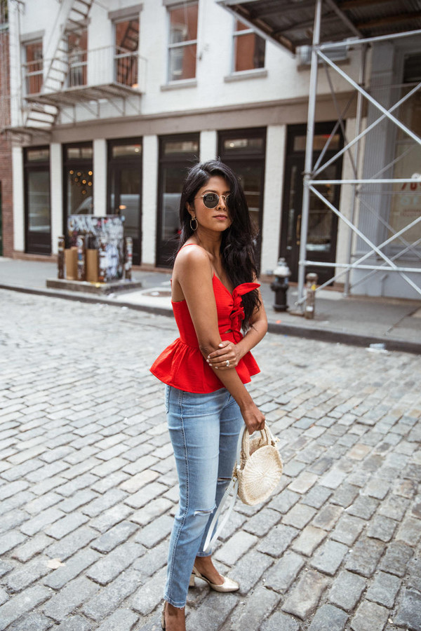 top tumblr red top peplum denim jeans blue jeans bag sunglasses shoes