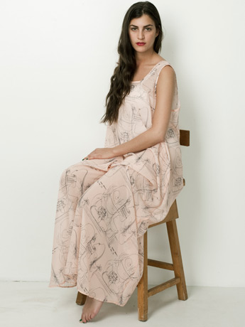 Illustrated Chiffon A-Line Maxi Dress | Shop American Apparel