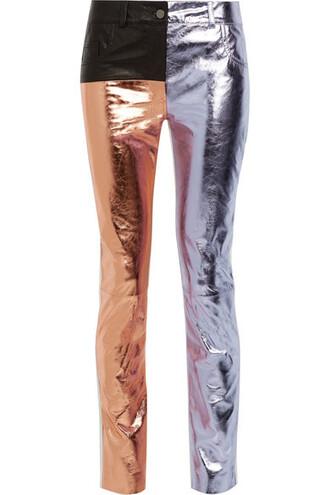 pants skinny pants matte metallic leather lilac