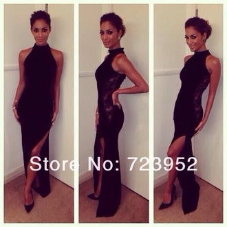dress black dress black slit dress prom dress