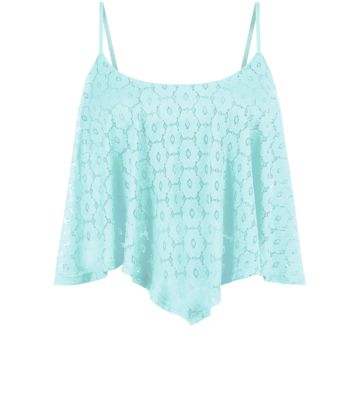 Mint Green Daisy Lace Hanky Hem Crop Top