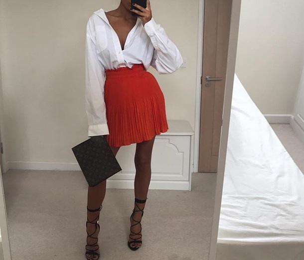 skirt red pleated mini skirt red skirt red mini skirt wine color