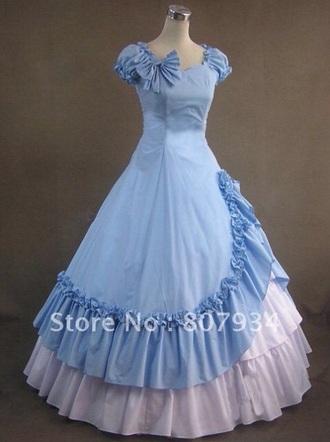 dress blue vintage gown lolita full skirt