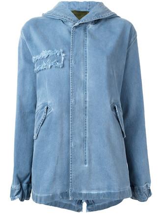 parka denim women spandex cotton blue coat