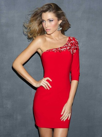 one shoulder fashion dress red dress cocktail dress