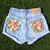Vintage High Waisted Jean Shorts Floral Back Pockets All Sizes Available