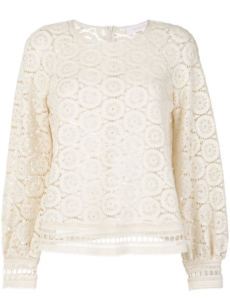See by Chloe blouse women nude cotton crochet top