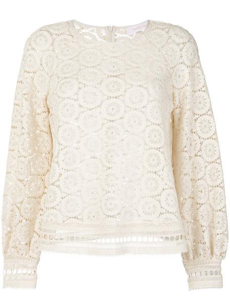 blouse women nude cotton crochet top