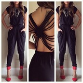 blouse,jumpsuit,one piece,black jumpsuit,black romper,cut open,strappy back,black playsuit,black,cute,jumper,hot,classy,sexy,beautiful,nice,pretty,dress,black dress,open back dresses,suit
