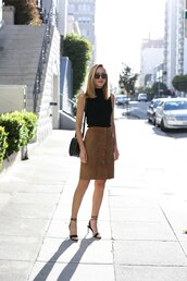 memorandum,blogger,skirt,shoes,bag,sunglasses,jewels,black top,suede skirt,button up,button up skirt,mini skirt,black heels,lace up heels,shoulder bag,black bag,sleeveless top,summer outfits,sandals,sandal heels,high heel sandals,sleeveless turtleneck sweater