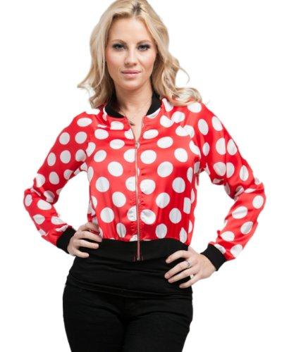 MOD Luv Women's Polka Dot Cropped Bomber Jacket Red L(J1004)   allcoats.present2u.net