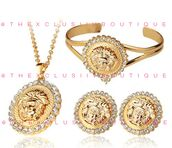 jewels,gold,medusa,versace,18 k,karat,accessories,crystal,rhinestones,earrings,bracelets,chain,necklace,chanel,paris,designer,brand,style,fashion,fashions,fashionista,plated,jewelry