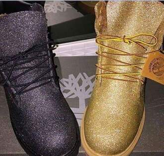 shoes gold timberlands glitter boots fashion black silver tumblr vogue jacket style metallic shoes