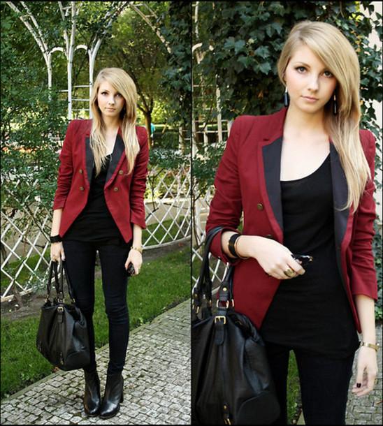 red jacket burgundy jacket