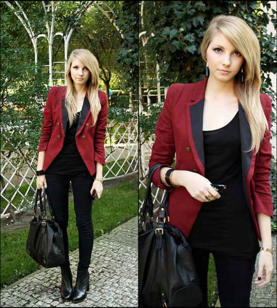 red jacket burgundy jacket