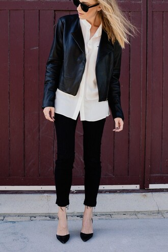 eat sleep wear blogger rock black leather jacket white shirt cropped jeans
