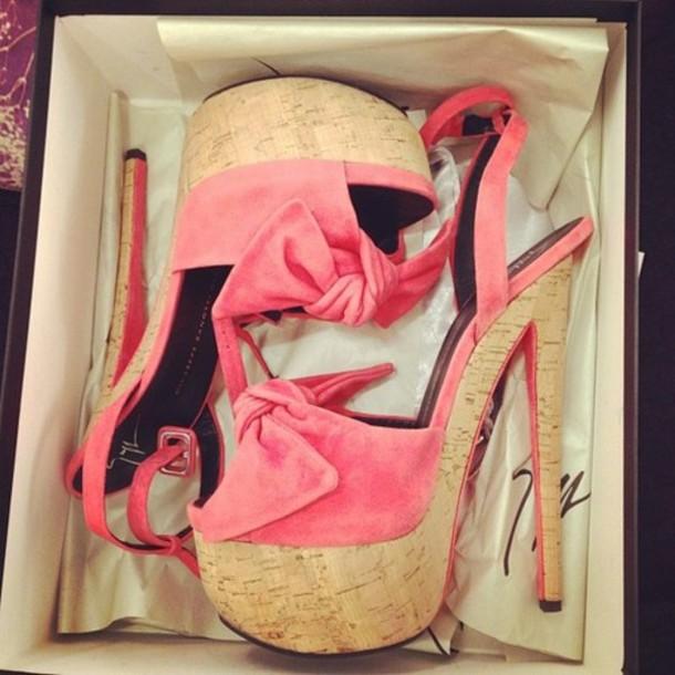 shoes cork heels giuseppe zanotti cork high heels pink peach neon heels bow summer