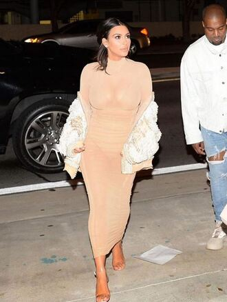 dress nude nude dress bodycon dress kim kardashian kardashians sandals jacket