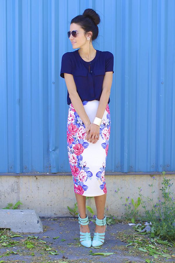 ASOS | ASOS Pencil Skirt in Mirror Floral Print at ASOS