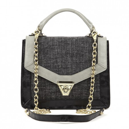 Women's Black Grey Tweed  Medium Shoulder Bag With Chain | Eloise by Sole Society