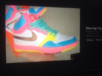 shoes nike high tops colourful neon shoes nike high tops